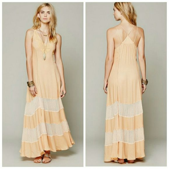 """Free People Scalloped Chevron Maxi Never worn but I took the tags off! FP light orange dress. Unlined with crochet detailing bib and racerback style. Crochet detail at the bottom. Very easy dress and soft. Semi sheer. Length is 61"""" from shoulder to hem. Non adjustable straps Free People Dresses"""