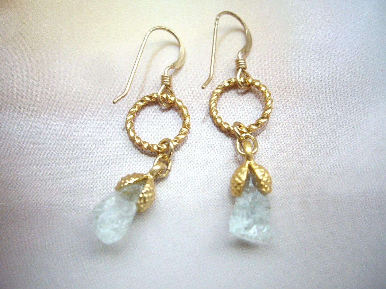 Raw Aquamarine Small Dangle Earrings, Gold Aquamarine Earrings, Raw  Crystal, Rough Stone Earrings, Flower Bud, Clip On, Free Gift Wrap