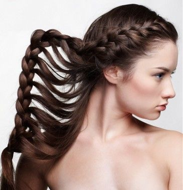 A long brown braided #hairstyle