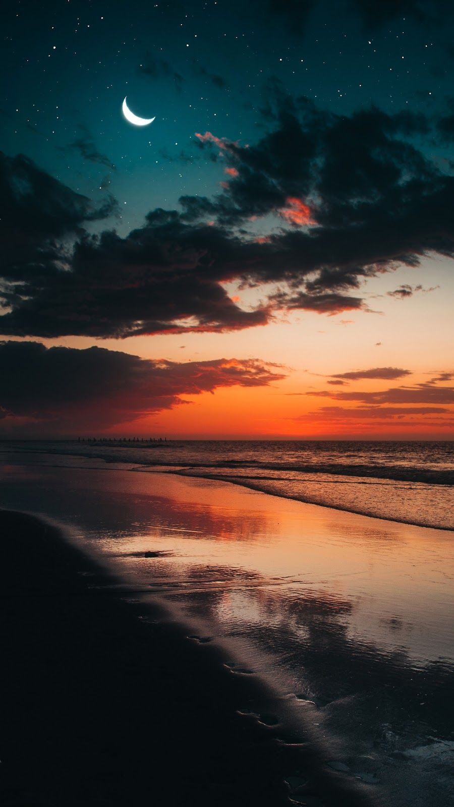 Beach In The Night Wallpaper Iphone Android Background Followme Nature Photography Landscape Photography Sky Aesthetic Evening beach scenery wallpaper