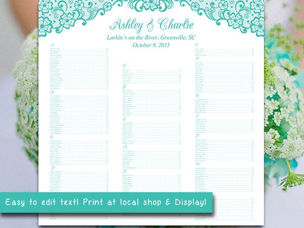 Wedding Seating Chart Template  Luxe Blue Seating Chart Bella