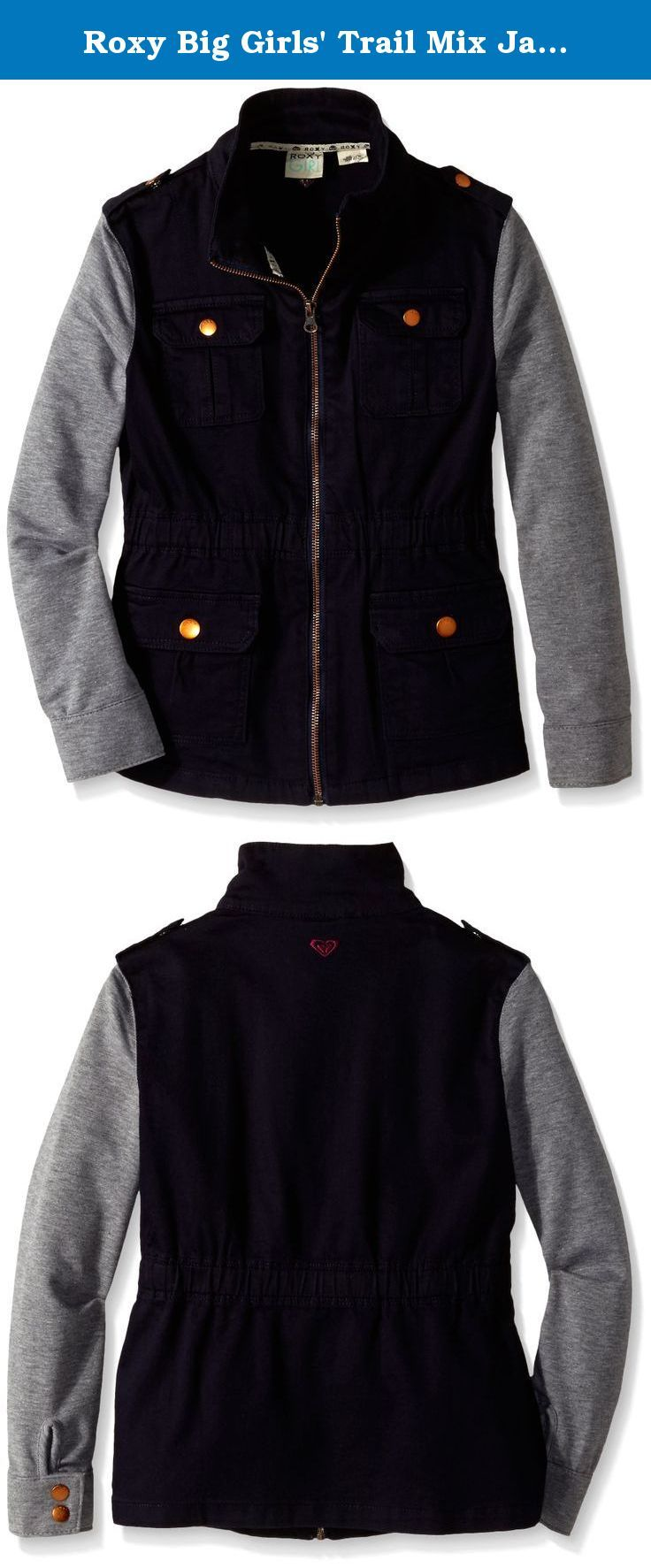 Roxy Big Girls' Trail Mix Jacket, Eclipse, 16. Roxy girl trail mix jacket. 100 percent twill, collared.