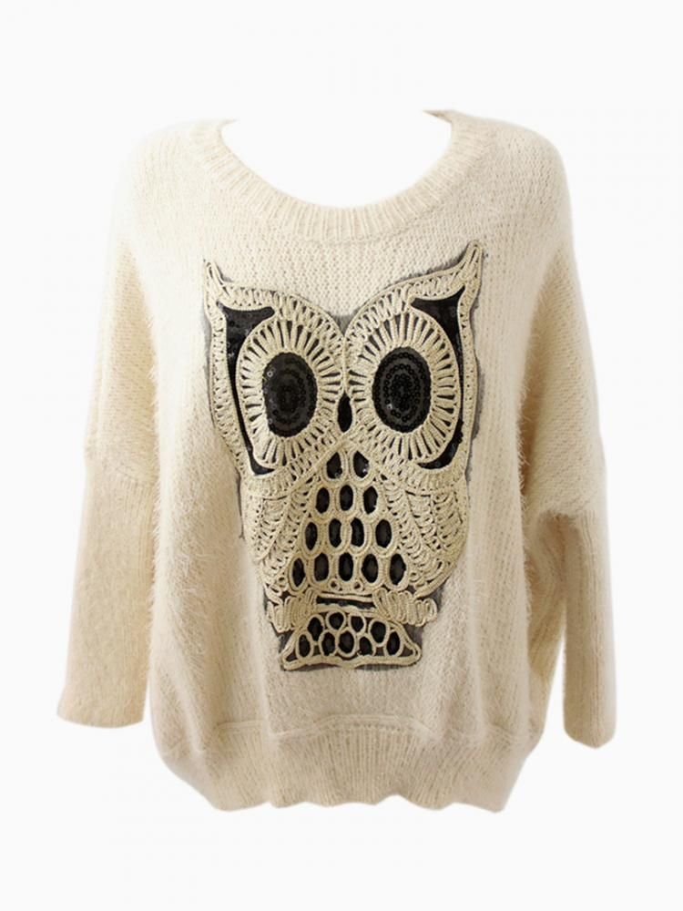 Oversized Owl White Jumper With Sequin Detail - Choies.com