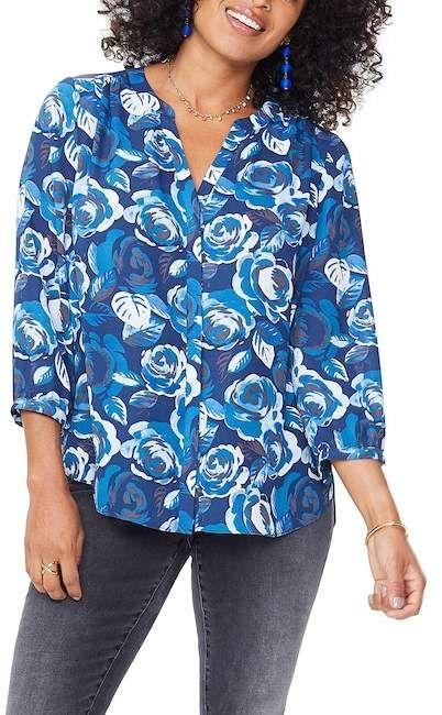 nydj split neck 3 4 sleeve blouse