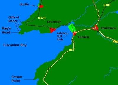 cliffs of moher map | ... . The Cliffs of Moher are two miles past on