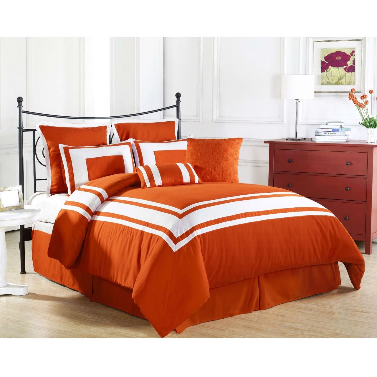 Queen Size 8 Piece Bed Bag Comforter Set In Tangerine Orange White