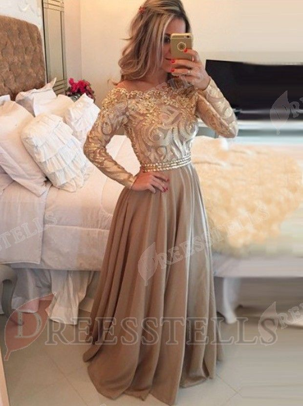 803cf7a913 Hot Selling A-Line Cowl Floor Length Gold Prom Evening Dress with Long  Sleeves