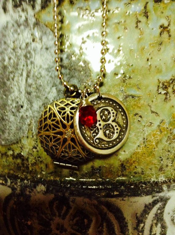 Monogram Oil Diffuser Necklace by StampedJJewelry on Etsy, $22.00