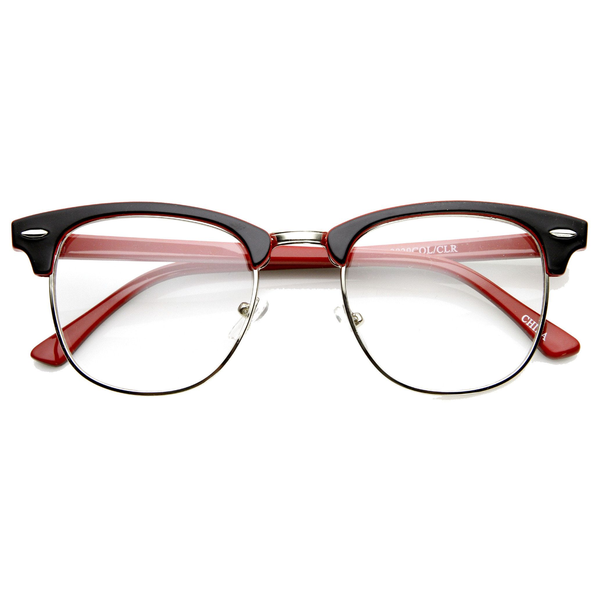 fb82983ab2 ZeroUV Retro Two Tone Colorful Clear Lens Half Frame Horned Rim Glasses