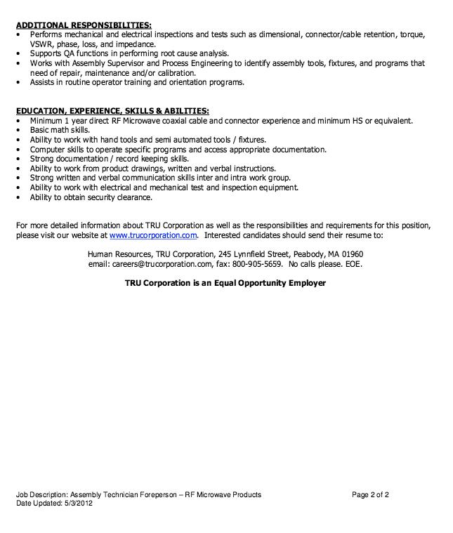 Assembly Technician Job Description Resume - http://resumesdesign ...