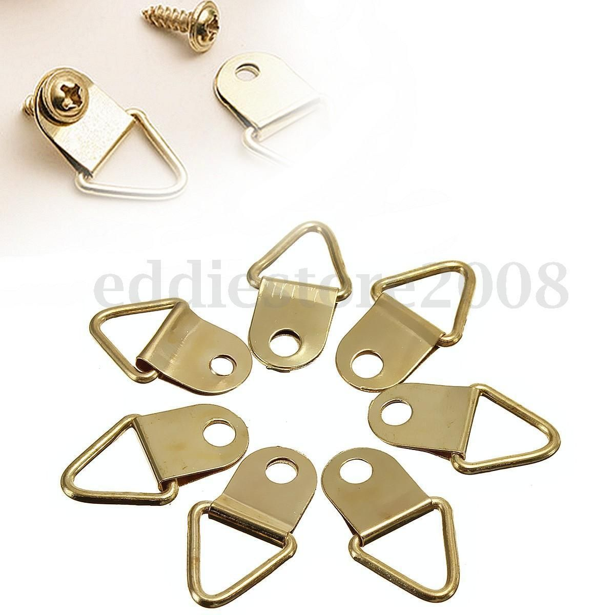 100pcs / Pack Picture Frame Hanging Triangle D Rings Frames Hanger Hooks Gold UK | eBay