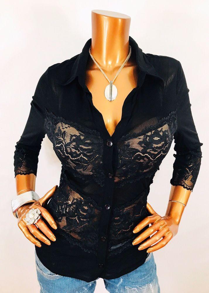 45ff8a8a Cache L Top Lace Sheer Nylon Blouse Button Down Shirt 3/4 Black Stretch Low  Cut | eBay