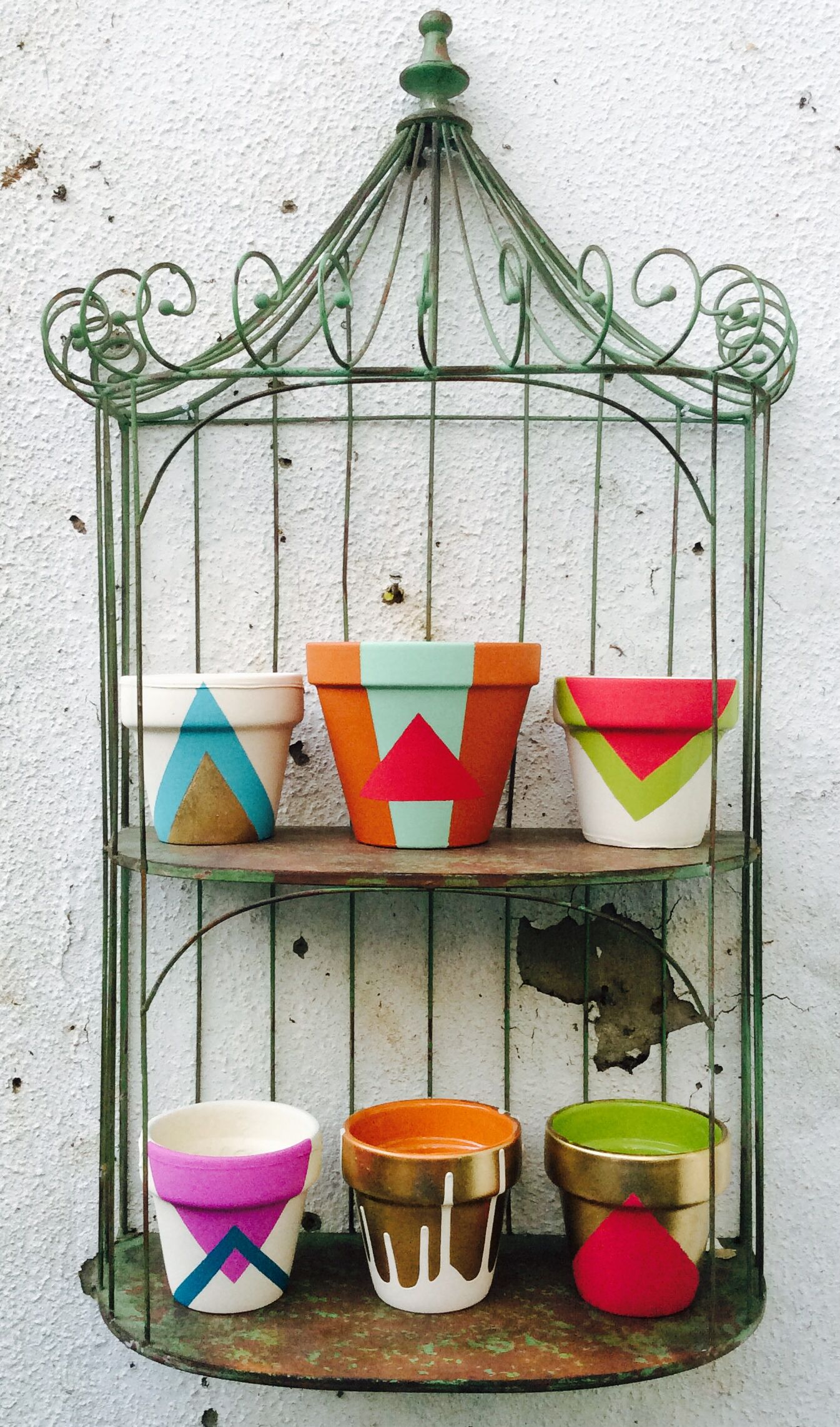 Hand painted funky flower pots using household emulsion paint and spray paint.  sc 1 st  Pinterest & Hand painted funky flower pots using household emulsion paint and ...