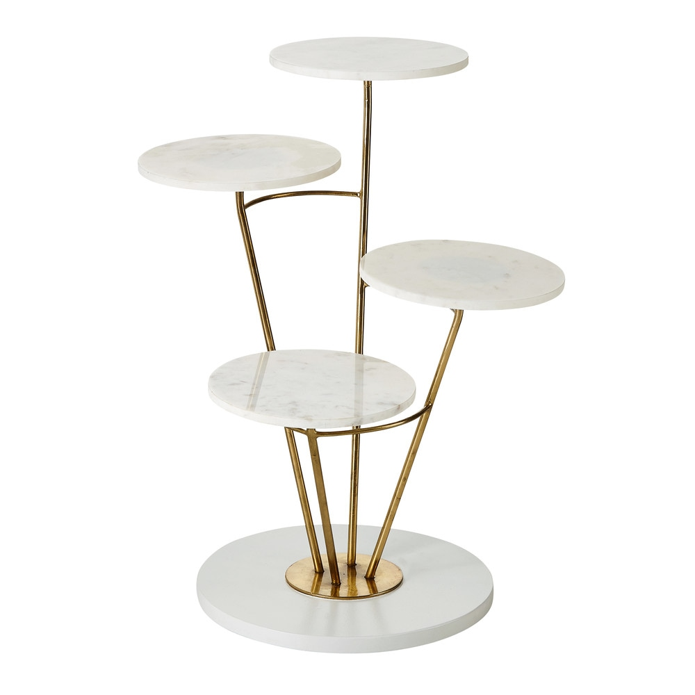 pedestal table with 4 white marble tops maisons du monde