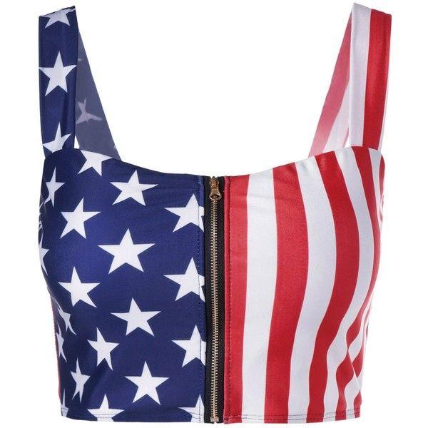 Zip Up American Flag Crop Top 13 Liked On Polyvore Featuring Tops American Flag Crop Top Americ American Flag Crop Top Print Crop Tops American Flag Top