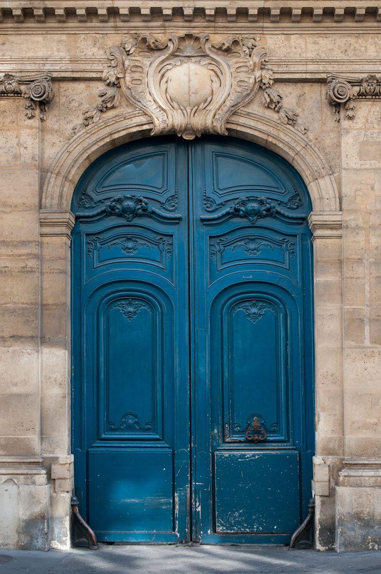 Paris Photography The Blue Door Ornate Architectural Fine Art Photograph Urban Home Decor