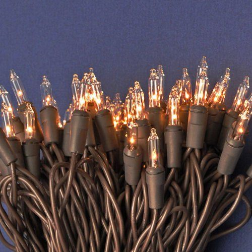 christmas mini lights 100 clear lights brown wire 42 ft long bulk
