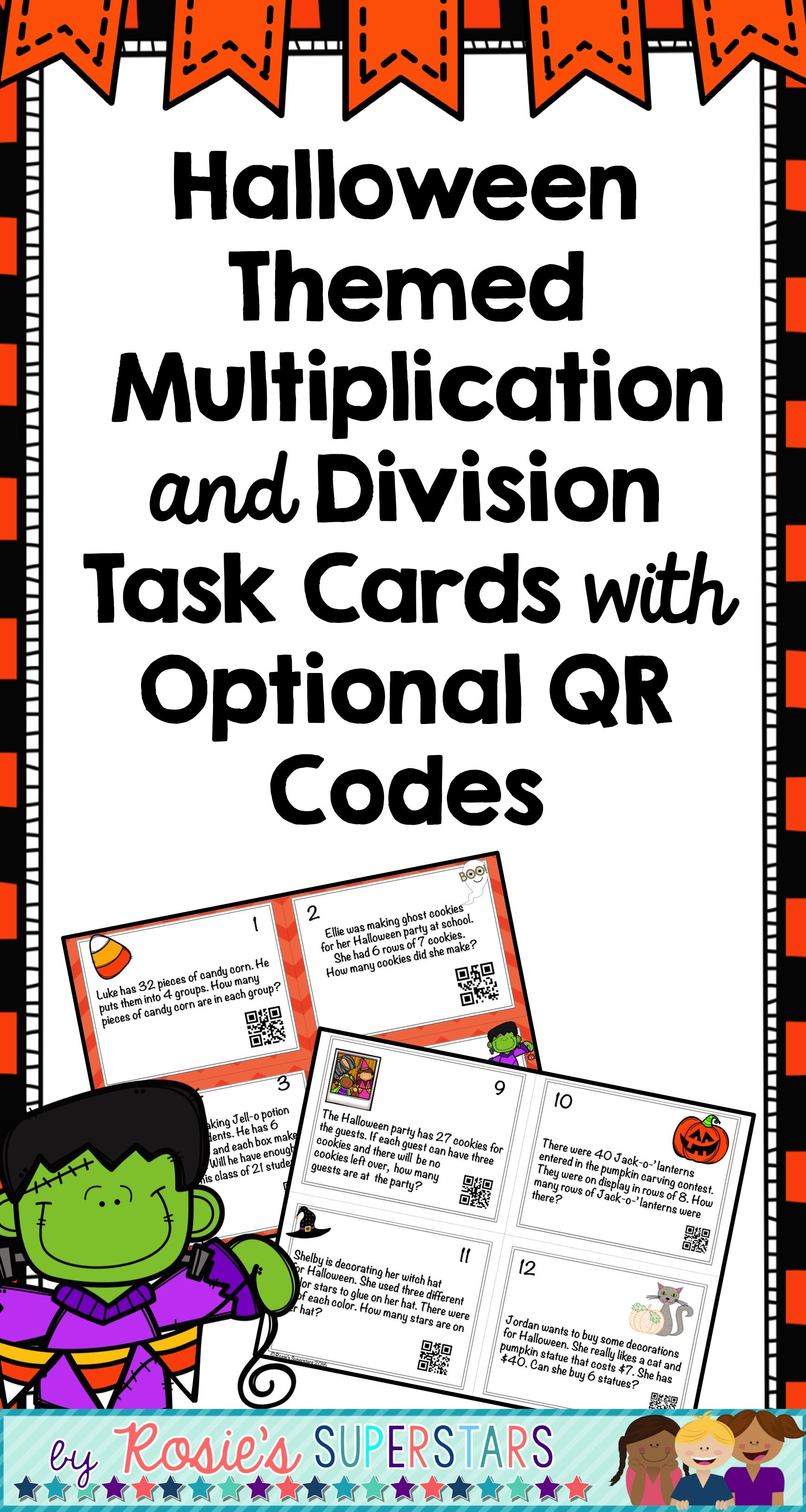 Halloween Multiplication And Division Word Problem Task