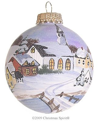 Hand Painted Church In Winter Painted Christmas Ornaments Christmas Ornaments Painted Ornaments