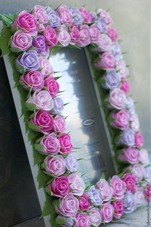 Купить Фоторамка с розами - розовый, розы, цветы ручной работы, фоторамка, фотография, подарок, любимая