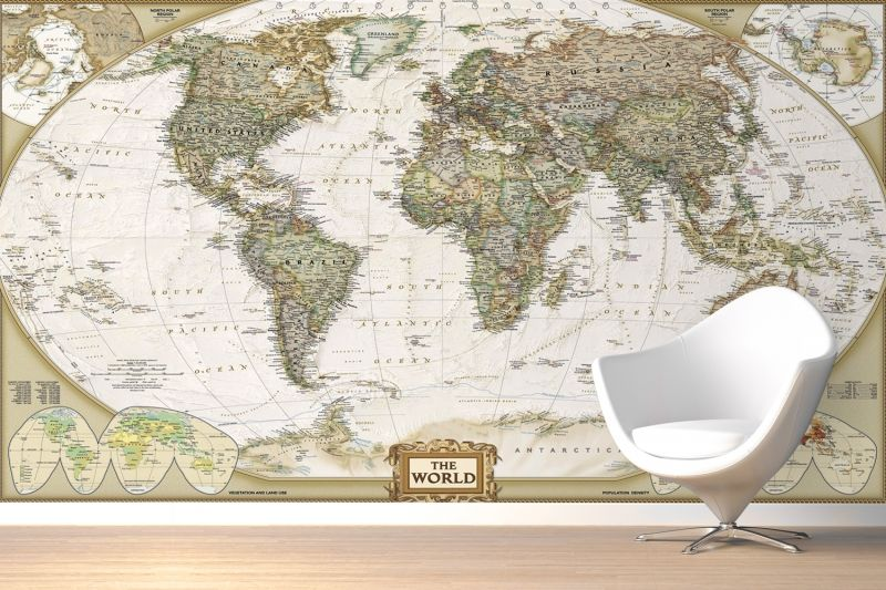 Traditional Old Style World Map Wall Mural World Map Mural