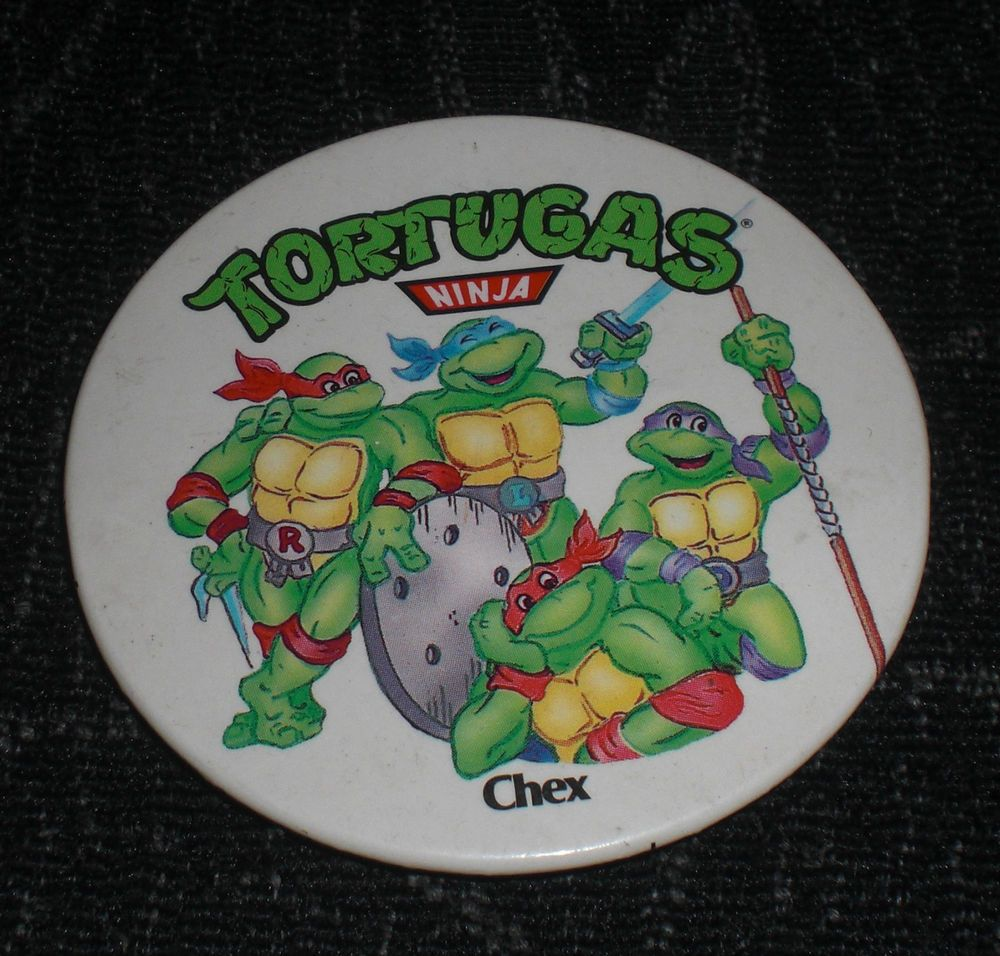 Chapa Tortugas ninja año 1990 Chex mirage studios licensed by L&C pin tortuga