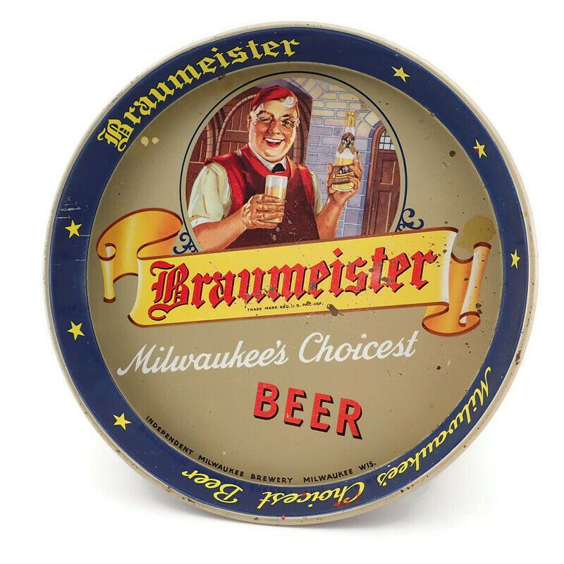 "Vintage Braumeister Beer 12"" Round Metal Serving Tray"
