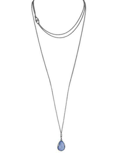 Guardian White Sapphire & Blue Chalcedony Teardrop Necklace by Scott Kay on Gilt.com