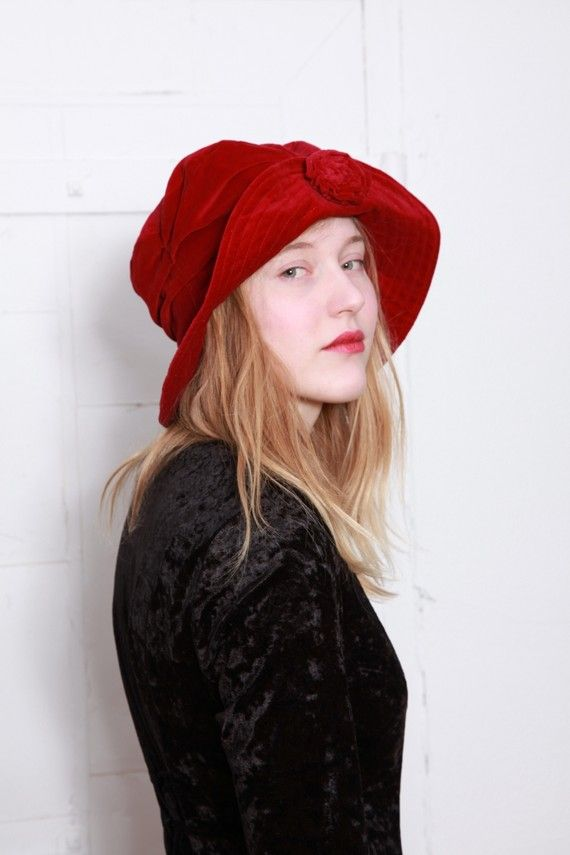 90s Cranberry Red Velvet Floppy Hat with Rosette  c6fdb7d3a46