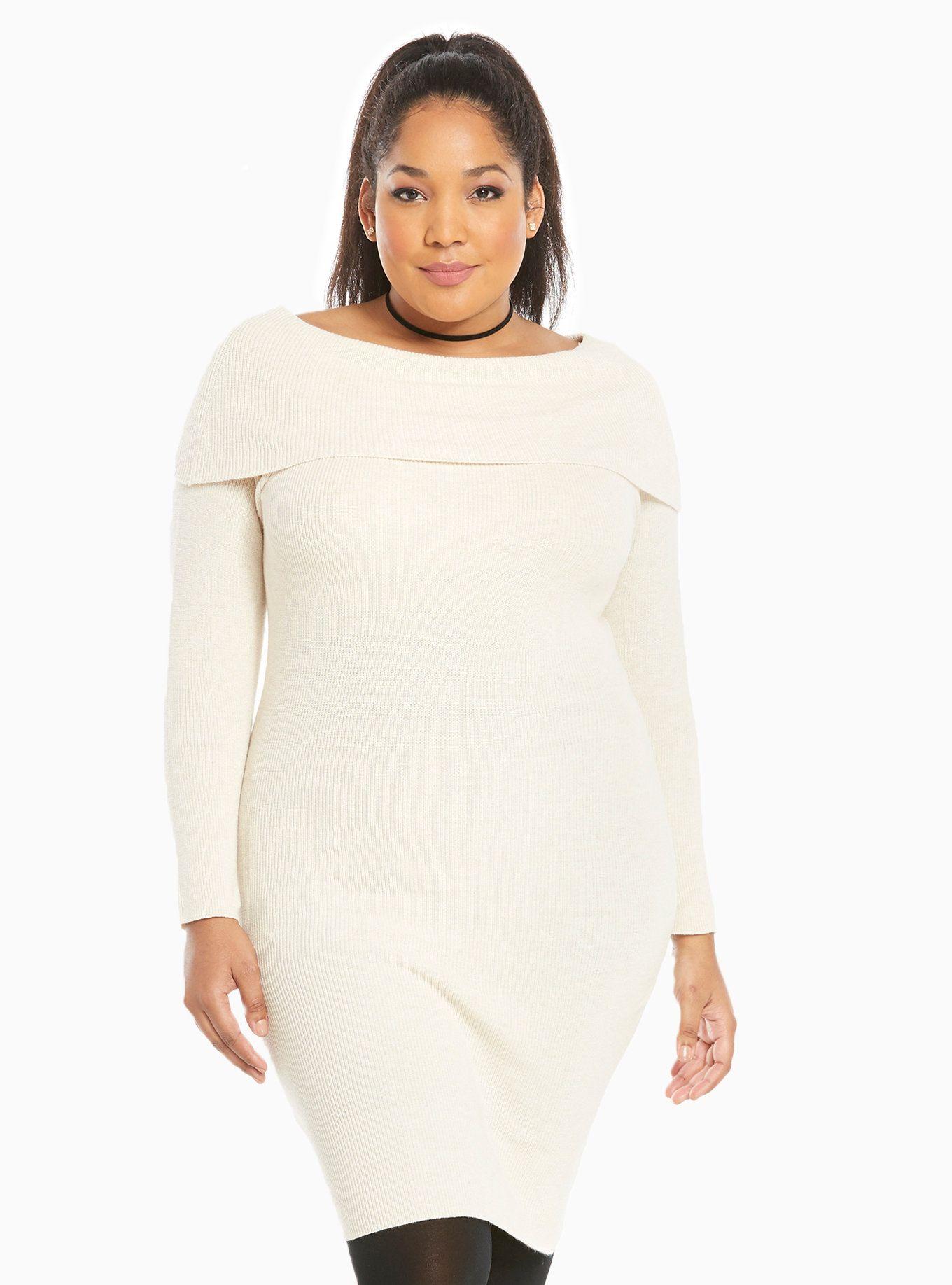 Off Shoulder Sweater Dress | Torrid