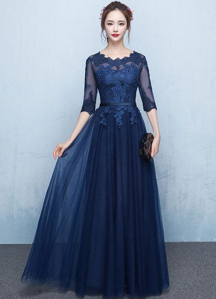 55fa7cf1615 Blue Prom Dress 2019 Long Lace Applique Evening Dress Tulle Dark Navy Sash Floor  Length Party Dress in 2019