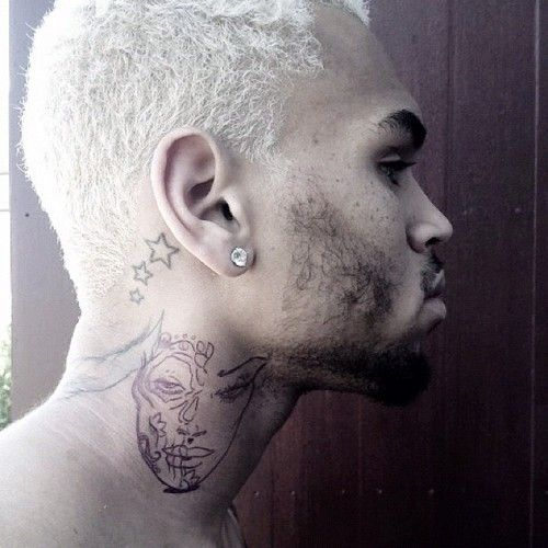 Chris Brown claims neck tattoo is inspired by Day of The ... |Chris Brown Lion Neck Tattoos