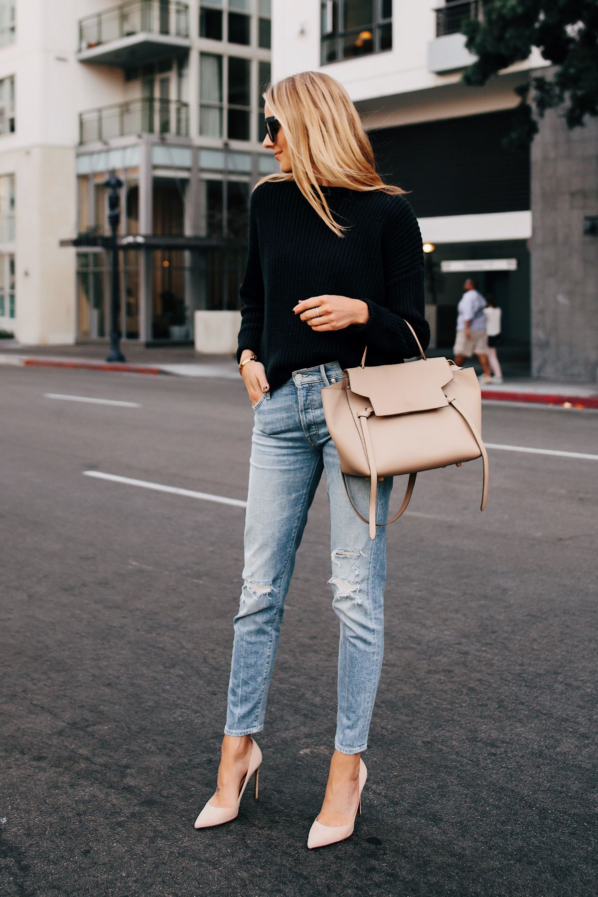 Blonde Woman Wearing Black Chunky Sweater Mother Denim Ripped Jeans Nude  Pumps Celine Mini Belt Bag Taupe Fashion Jackson San Diego Fashion Blogger  Street ... 75069c98059fb