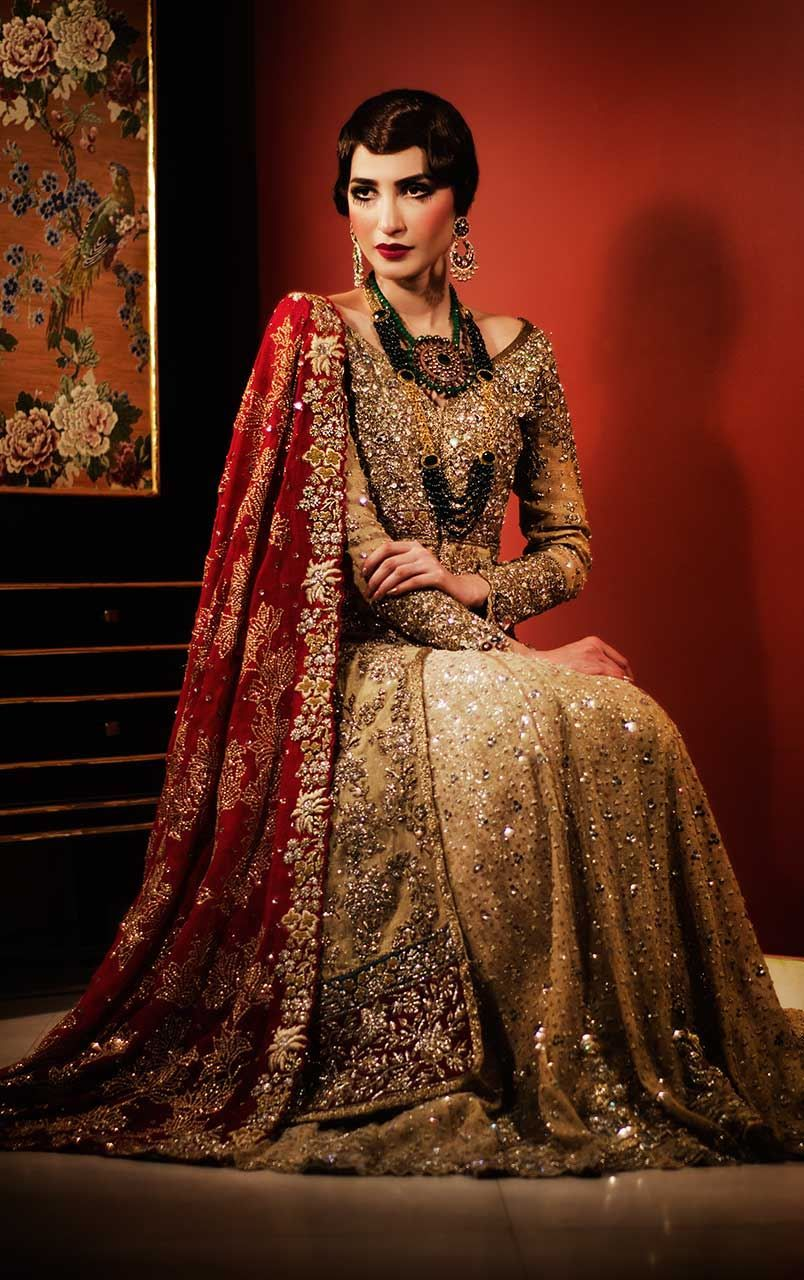 Light Green Traditional Pakistani Wedding Wear By Lengha 2018 TeenaDurrani Couture