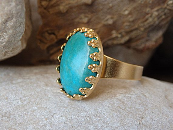 Adjustable Turquoise Ring Oval Gold Ring with Turquoise Stone
