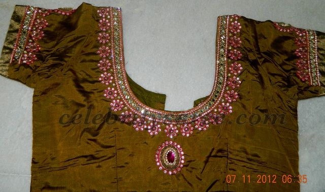 Stone And Mirror Work Blouse Designs Saree Blouse
