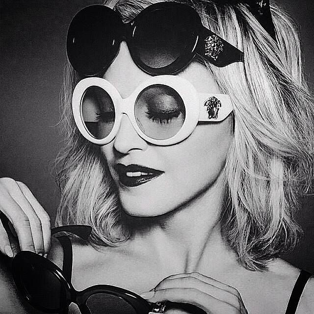 6f65fb92c94 New Madonna photo for Versace eyewear.