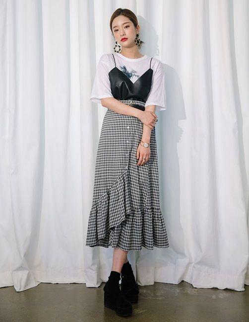 korean style plaid long maxi skirt cute skirt plaid