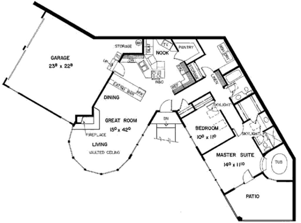 main floor weird house plans pinterest weird houses Strange House Plans build your ideal home with this contemporary modern house plan with 2 bedrooms(s), 2 bathroom(s), 1 story, and 1482 total square feet from eplans exclusive strange house plans