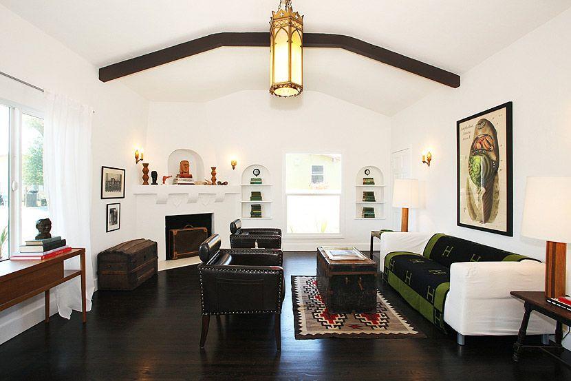 surprising white living rooms dark wood floors | Living Room -- dark wood and white | Houses and rooms ...