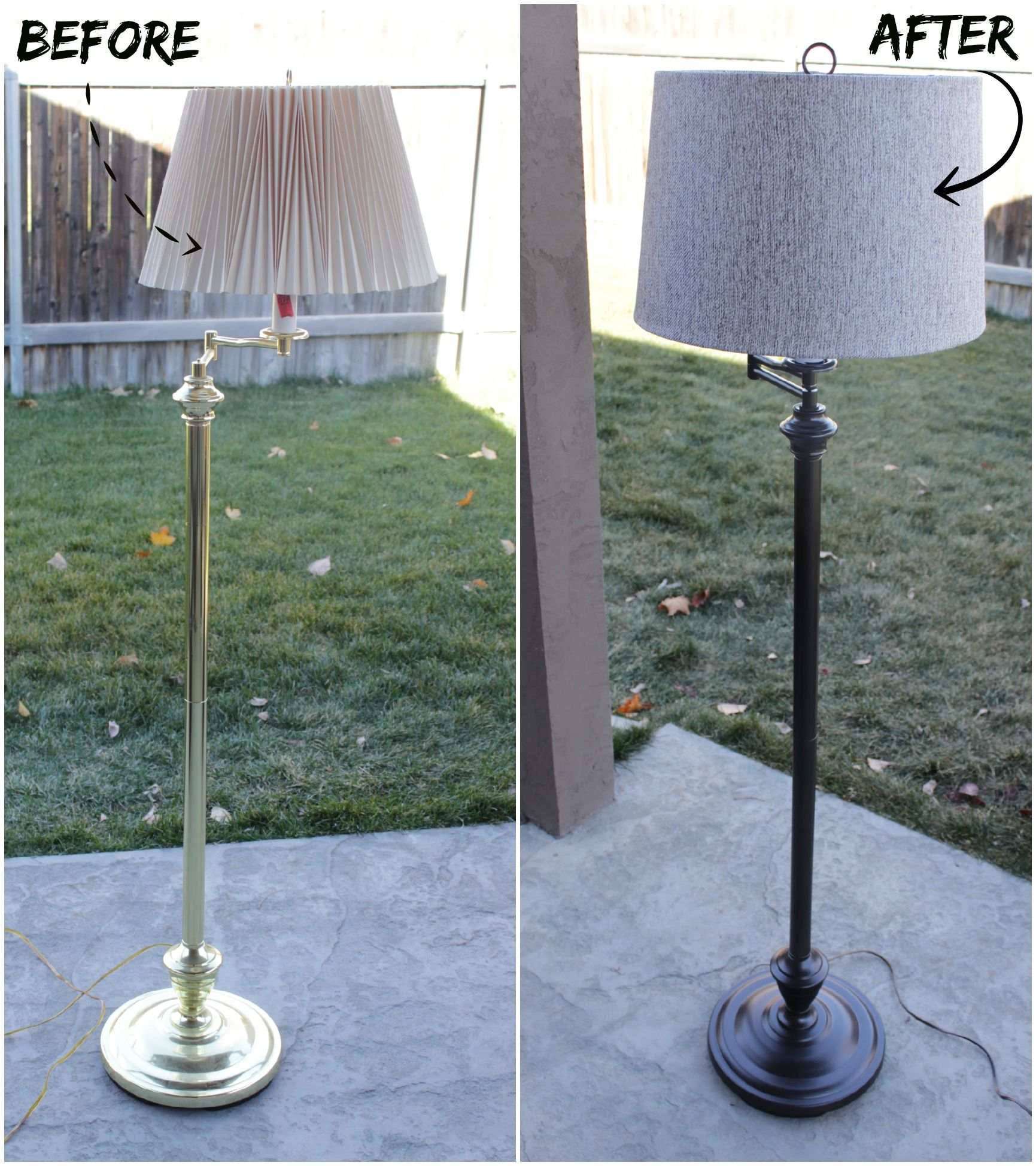 Diy How To Update An Old Lamp I Have A Lamp Just Like This That Needs A Makeover Floorlamp Diy Lamp Makeover Diy Floor Lamp Floor Lamp Makeover