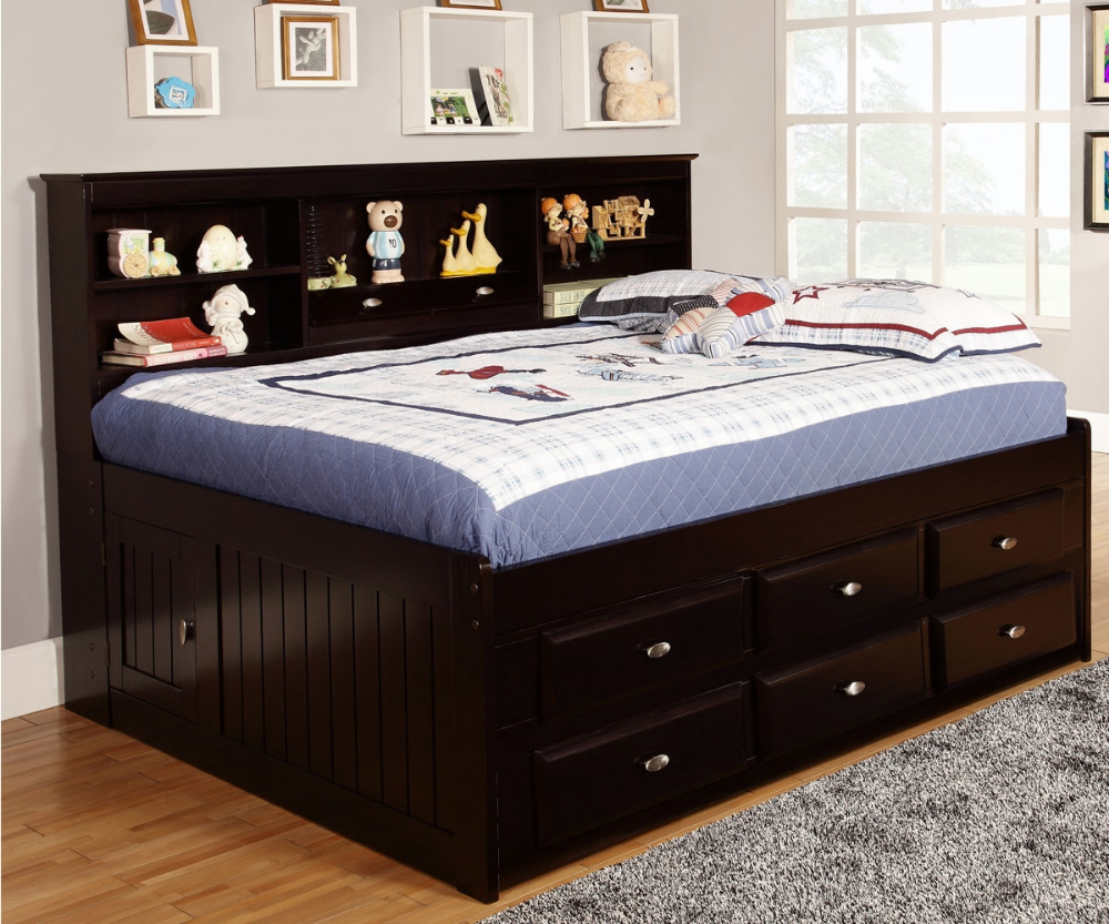 Full Size Bookcase Captains Day Bed in Espresso 2923