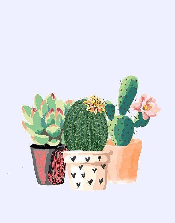 Photo of Cactus Art, Printable Art, Cactus Print, Home Decor, Potted Cactus, Watercolor, Succulents, Wall decor, Instant Download