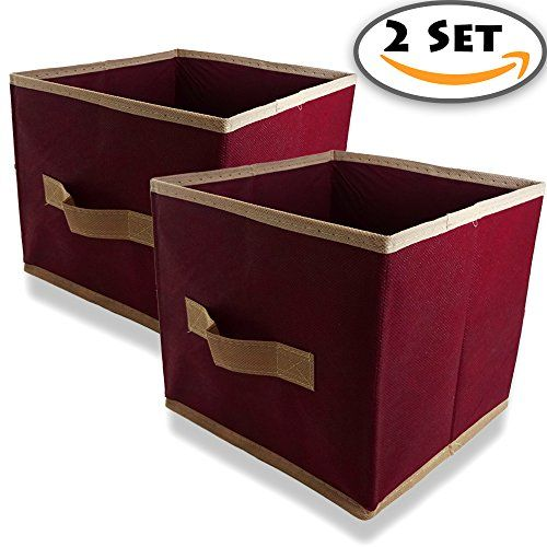 2 Set Of Small Collapsible Fabric Storage Box With Pull Handle, Mini Soft  Home Storage U0026 Organizers, Foldable Storage Cube Basket Bin, X W X (Maroon)