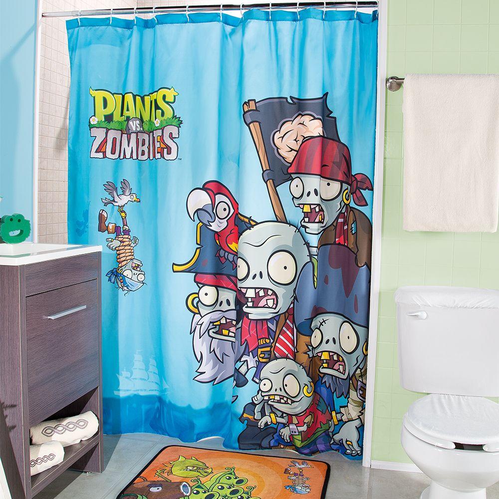 Cortina para ba o pants vs zombies ba o ni os cortinas - Cortinas para ninos ...
