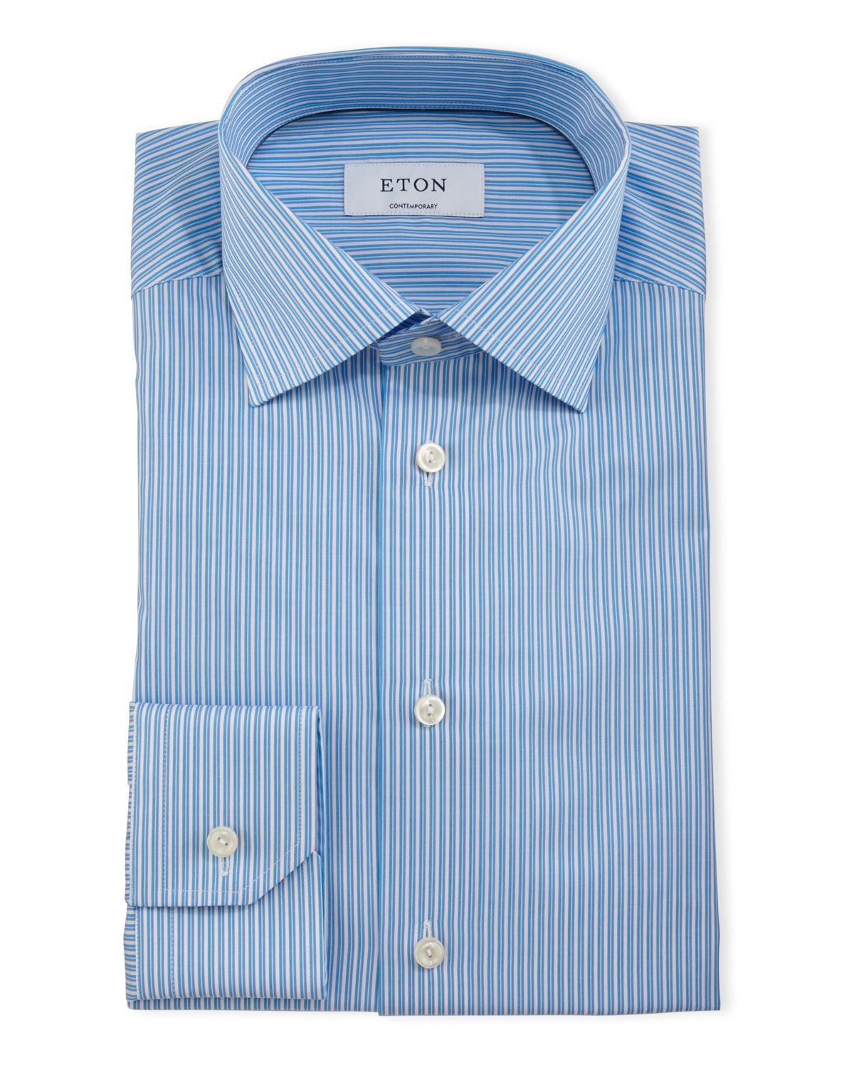 Green striped dress shirt  ContemporaryFit Striped Dress Shirt Turquoise  Eton  Chemises