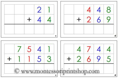 Addition Command Cards Printable Montessori Math Materials Math Materials Montessori Math Math Methods