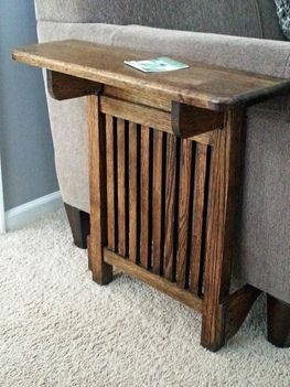 Space Saving End Table  Do it with white rails and wood top to match decor.