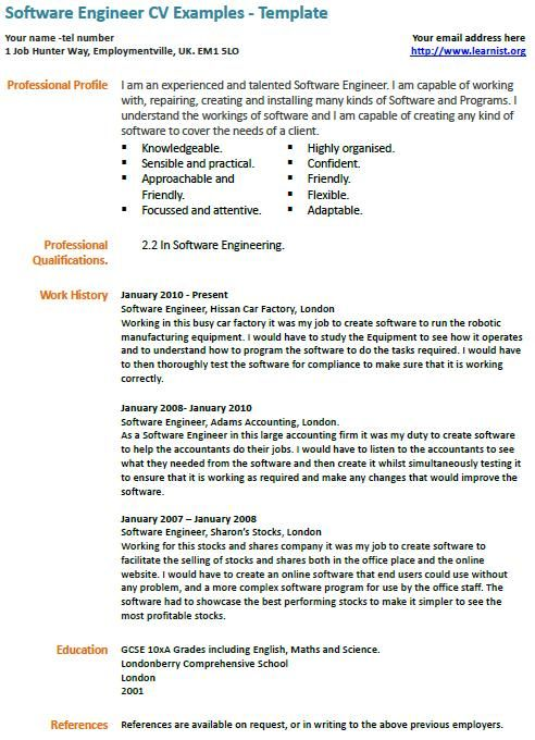 Software Engineer Cv Example Cv Examples Resume Examples Free Resume Samples