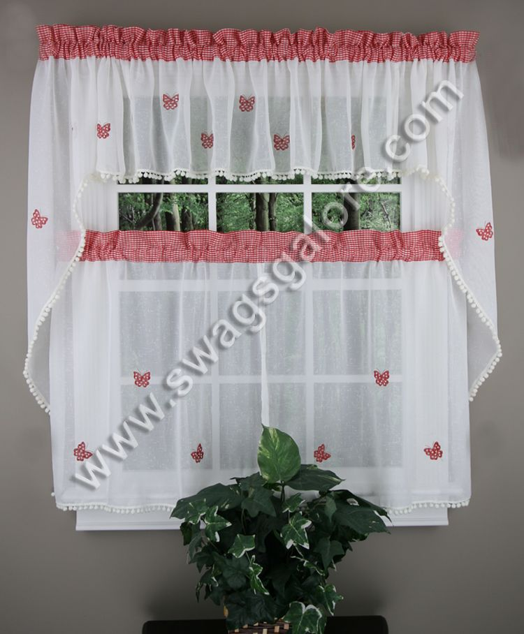 Butterfly Gingham Is A Deluxe Curtain Program Made Of Semisheer Classy Swag Curtains For Kitchen Decorating Design